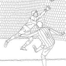 Desenho de um jogador de futebol marcando um gol para colorir online