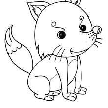 Desenho de uma raposa Kawaii para colorir
