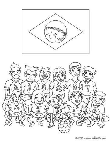 Desenho do time de futebol do Brasil para colorir