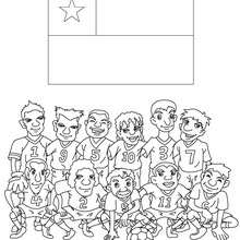 Desenho do time de futebol do Chile para colorir