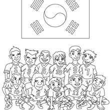 Desenho do time de futebol da Coreia do Sul para colorir