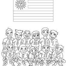 Desenho do time de futebol do Uruguai para colorir