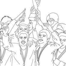 Desenho de um time de futebol recebendo um troféu para colorir