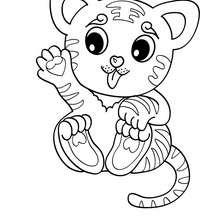 Desenho de um tigre Kawaii para colorir