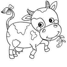 Desenho de uma vaca bonitinha para colorir