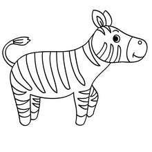 Desenho de uma zebra Kawaii para colorir