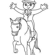 Desenho de uma criança no seu cavalo para colorir