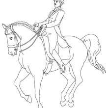 Desenho de um homem treinando o seu Cavalo para colorir