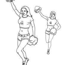 Desenho de duas cheerleaders para colorir