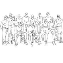 Desenho de um time de basquete com o seu treinador para colorir