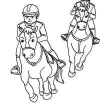 Desenho de criançasgalopando com seus cavalos para colorir