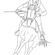 Desenho de um jóquei galopando com seu cavalo para colorir