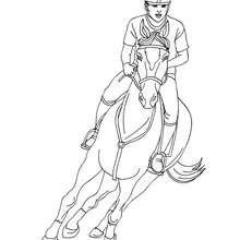 Desenho de uma mulher no galope com seu cavalo para colorir