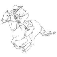 Um jóquei galopando com seu cavalo para colorir