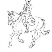 Desenho de um cavaleiro trotando com seu cavalo para colorir