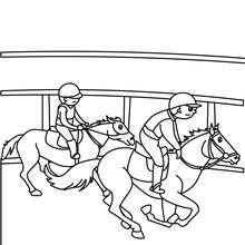 Desenho para colorir de crianças andando a cavalo