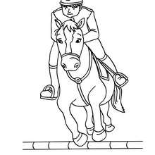 Desenho de um menino saltando com seu cavalo para colorir online