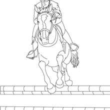 Desenho de um homem saltando com seu cavalo para colorir