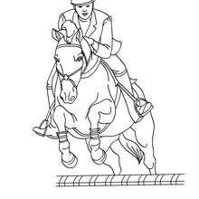Desenho de uma mulher saltando com seu cavalo para colorir