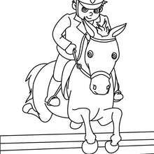Desenho de uma criança saltando com seu cavalo para colorir