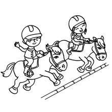 Desenho de crianças saltando com seus cavalos para colorir