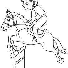 Desenho de um menino saltando com seu cavalo para colorir