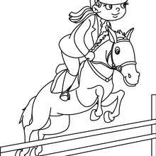 Desenho de uma menina saltando com seu cavalo para colorir online