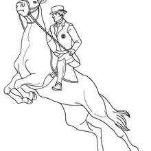 Desenho de um homem saltando com seu cavalo para colorir online