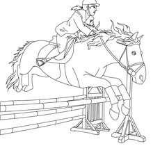Desenho de uma mulher saltando com seu cavalo para colorir online