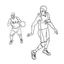 Desenho de um jogador de basquete passando a bola para colorir