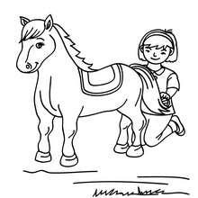 Desenho de uma menina escovando o seu Cavalo para colorir