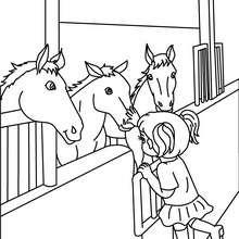 Desenho de cavalos na cavalariça para colorir
