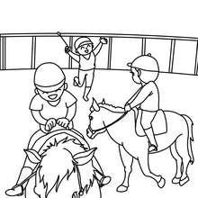 Desenho de crianças numa escola de equitação para colorir