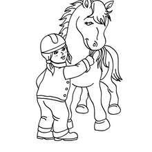 Desenho de uma menina alimentando o seu Cavalo para colorir