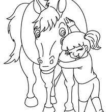 Desenho de uma menina abraçando um Cavalo para colorir