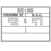 Desenho do placar do jogo de basquete para colorir
