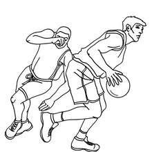 Desenho de jogadores de basquete correndo para colorir