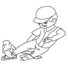 Desenho do batedor de beisebol correndo para colorir