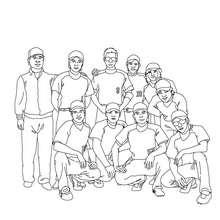 Desenho de uma equipe de beisebol para colorir
