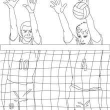 Desenho de um bloqueio do Vôlei para colorir