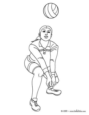 Desenho de um jogador defendendo no Vôlei para colorir