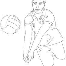Desenho de um jogador de Vôlei fazendo um