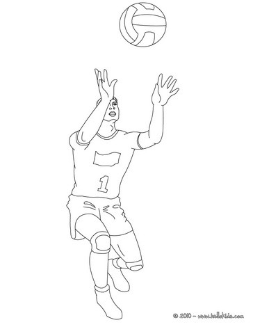 Desenho de uma defesa de Voleibol  para colorir