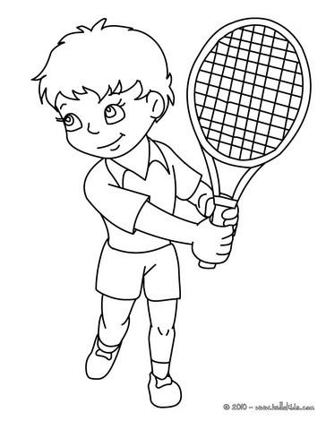 desenhos para colorir de desenho de um jogador de tênis fazendo uma