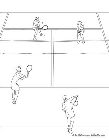 desenhos para colorir de desenho de uma quadra de tênis com 4