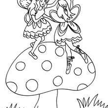 Desenho de fadas dentro de um cogumelo para colorir