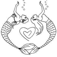 Desenho de duas sereias formando um coração