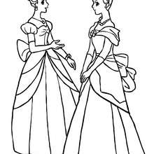 Desenho de duas princesas conversando para colorir