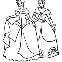 Desenho de duas princesas de coroa para colorir