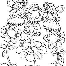 Desenho de fadas dançando para colorir